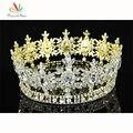 Estrella Hombres Pageant Corona del Rey del pavo real Prom Accesorios Imperial Oro Plateado Tiara Completo Redondo Del Círculo Al Por Mayor CT1791