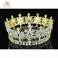 Homens Estrela Pageant Coroa do Rei do pavão Prom Acessórios Banhado A Ouro Imperial CT1791 Full Circle Rodada Tiara Atacado