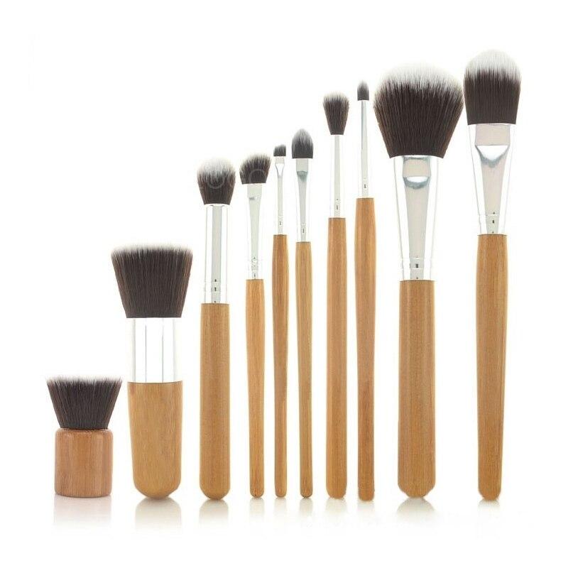 10 PCS ECO FRIENDLY Professional Benefit Makeup Brush Stroke Bamboo Handle Cosmetic Professional Makeup Brush Set