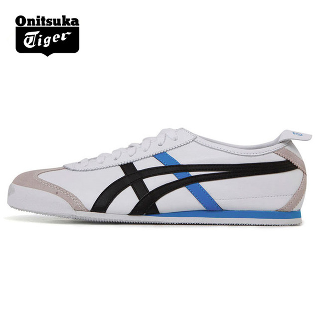 sale retailer 09576 0b92d US $125.39 |ONITSUKA TIGER MEXICO 66 Men Women White Black Blue Shoes  Leather Rubber Street Low Student Sneakers Badminton Shoes THL7C2 0152-in  ...