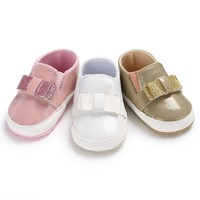 New PU Baby Girls Baby Shoes Cute Newborn First Walker Shoes Infant Princess Soft Sole Bottom Anti-slip Shoes Baby's First Walkers