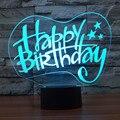 Acrílico LEVOU Candeeiro de Mesa de Toque 3D Criativo mudança de 7 cores luz da mesa USB night light NightLight Deco Presentes Feliz Aniversário IY803480