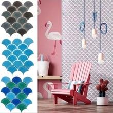 Плитка в виде рыбьей чешуи, Скандинавская мозаика, веерообразная синяя ТВ-фоновая Наклейка на стену, ванная комната, кухня, ледяная трещина, керамическая плитка