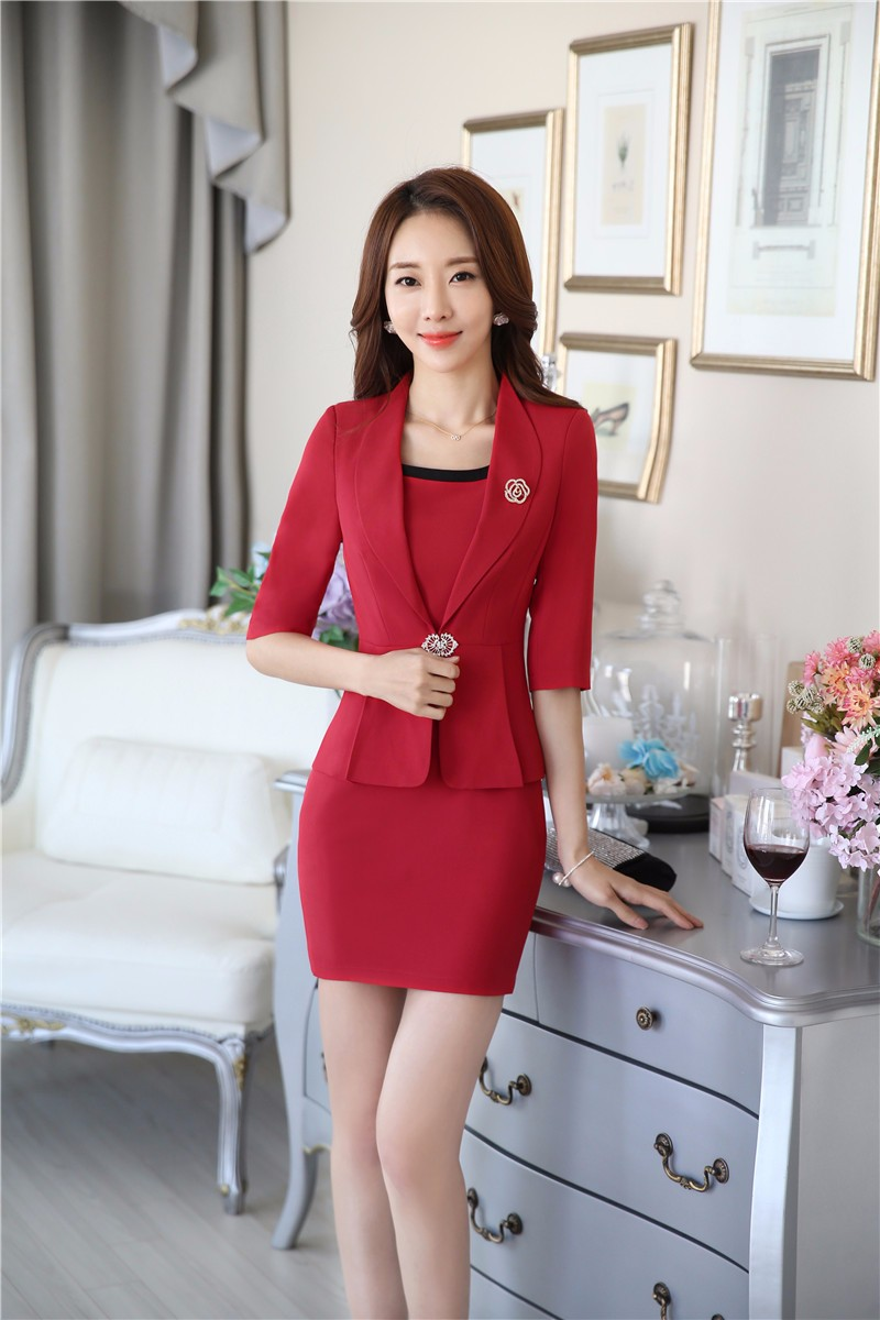 02573017fc7be4 Novelty Red Professional Business Women Jackets Blazers Outwear Formal  Uniform Styles Ladies Office Tops Coat Clothes Blaser