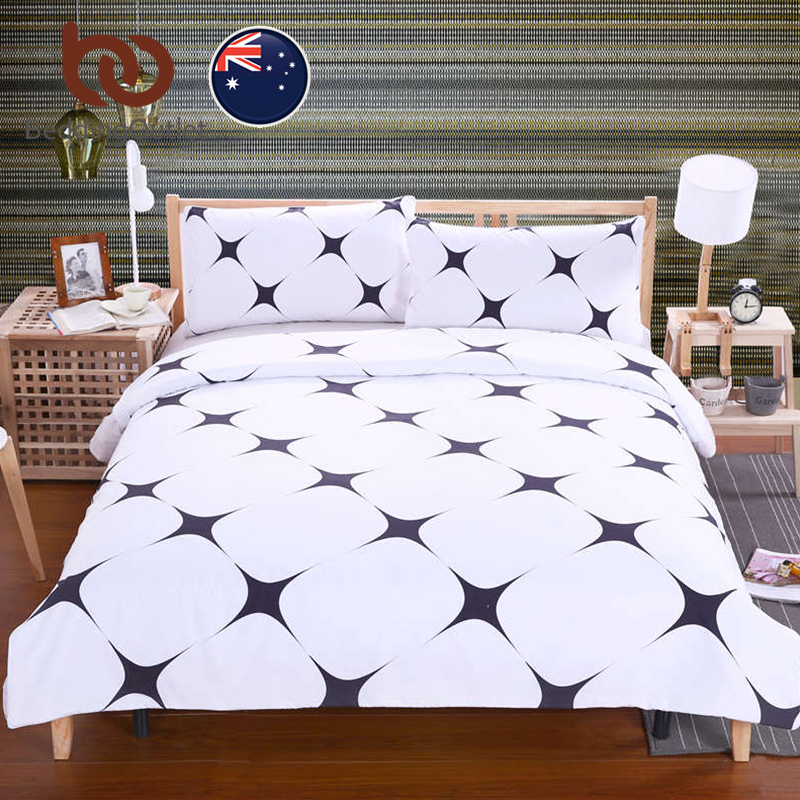 BeddingOutlet Black Star Bedding Set Simple Style Bed Cover With Pillowcases For Living Room Soft White Bedclothes AU Single