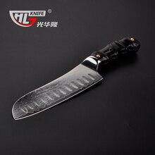 7 inch Japanese Santoku knife Damascus Kitchen knives Japanese VG10 core sushi knife, Padauk wood handle