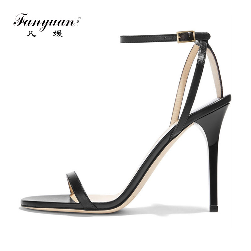 ФОТО Fanyuan 2017 Women Sandals Classics Office Thin Heels Genuine Leather  Super High Heels Shoes Concise Ankle Strap Pumps