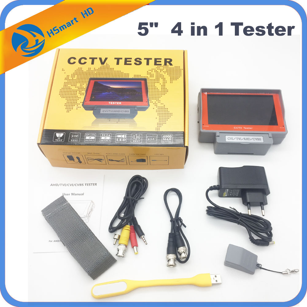 New 5.0 Inch HD AHD 4 in 1 CCTV Tester Monitor AHD 1080P Analog TVI CVI for 4.0MP HD CCTV Camera UTP Cable Tester 12V1A Output
