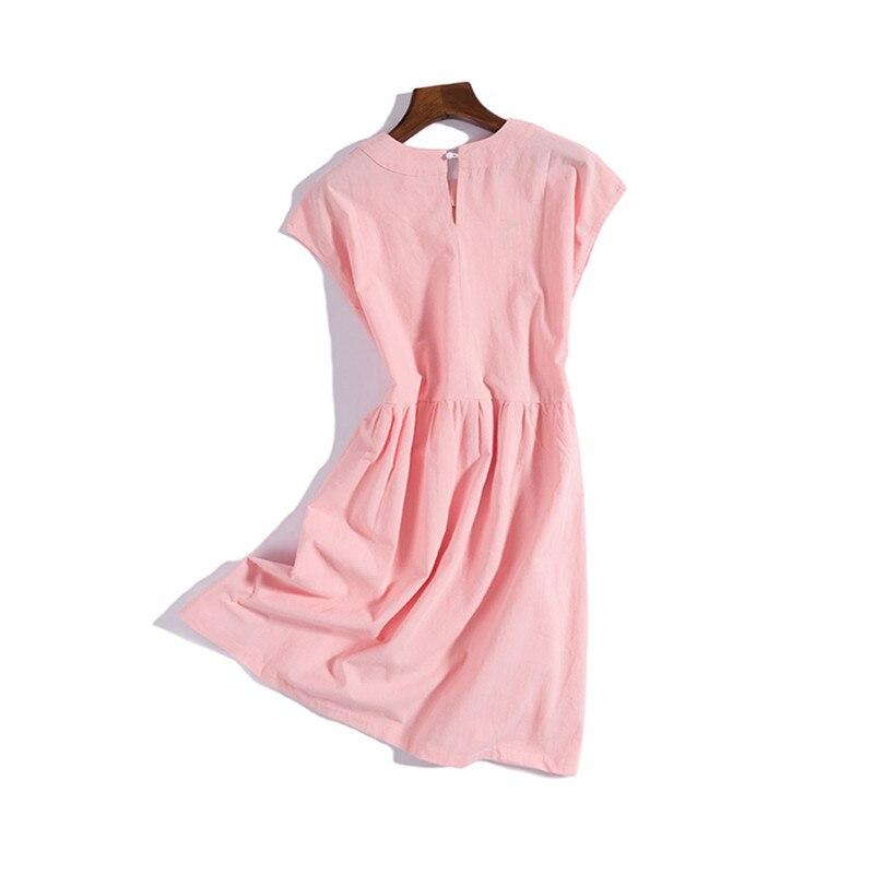 0772f9b230edba Beste Kopen Vrouwen Zomerjurk Nieuwe Mode Toevallige Losse Korte Mouwen  Vintage Katoen Linnen Roze Jurken Vestidos lolita stijl linnen jurk  Goedkoop.