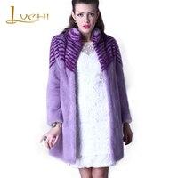 LVCHI Winter 2019 High Quality Velvet Custom Made Mink Coat Fur Violet Mandarin Collar Genuine Leather Fur Coats Real Fur Coat