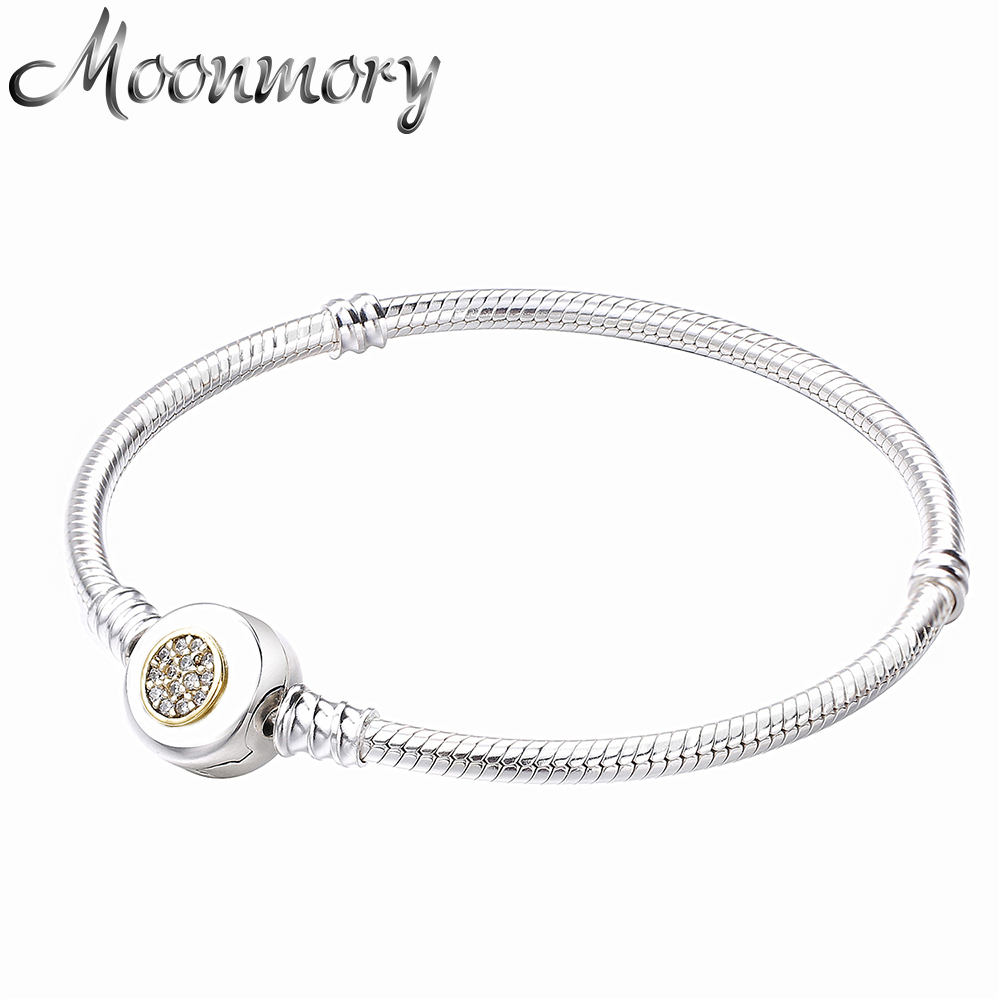 Moonmory Real 925 Sterling Silver Gold Lock Snake Chain Bracelet Fit For DIY Charms Snake Bracelets For Woman C Jewelry fitness yoga hammock yoga swing anti gravity aerial straps high strength fabric decompression hammock mix color with 6 grip hand