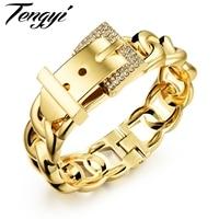 TENGYI 18mm Large Femelle Bracelet Hiphop Punk Femmes Grand Lien Bracelet Or & Argent CZ Dazzle Fermoirs Ceinture Boucle Bracelet 499