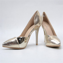 Size 41 2017 women' High Heels Fashion Bring Gold Pointed Toe Pumps Sexy Spring Summer Autumn Shoes Thin heels Women SLIM Shoes