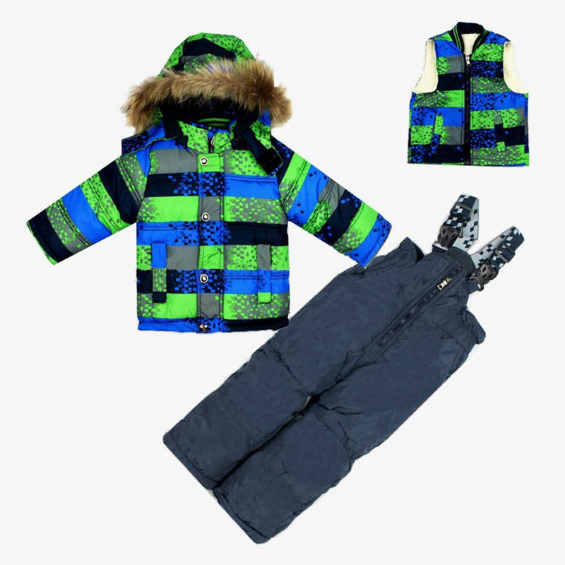 2017 casual Children boy winter clothing set boy girl Ski suit sport set kids duck down parkas baby windproof warm coat fur 3PCS 2014 children s clothing baby down coat set large fur collar red male