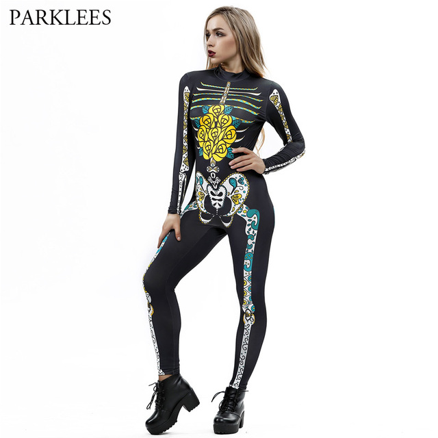 Halloween Cosplay Costumes Rompers Jumpsuits New 3d Gothic Skeleton