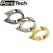 Silver Gold Black Color 2Pcs Women Men Safety Survival Ring Tool EDC Self Defence Stainless Steel Ring Finger Defense Ring Tool