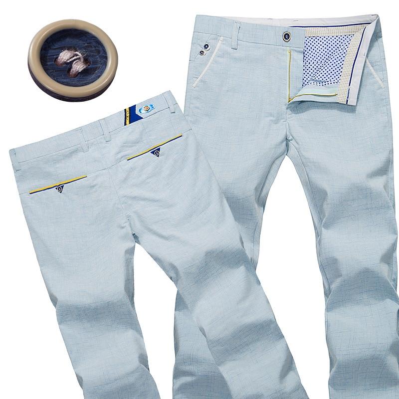 2016 Summer New Mens Linen Cotton Dress Pants Corea Plaid Straight
