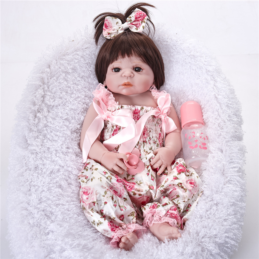 55cm Full body Silicone Reborn Baby Alive Popular Baby Reborn Silicone Vinyl Inteiro Dolls For Girls Birthday Toys For Girls fancytrader plush homeless puppy dogs toy large soft stuffed animals doll best kids friends dog 65cm