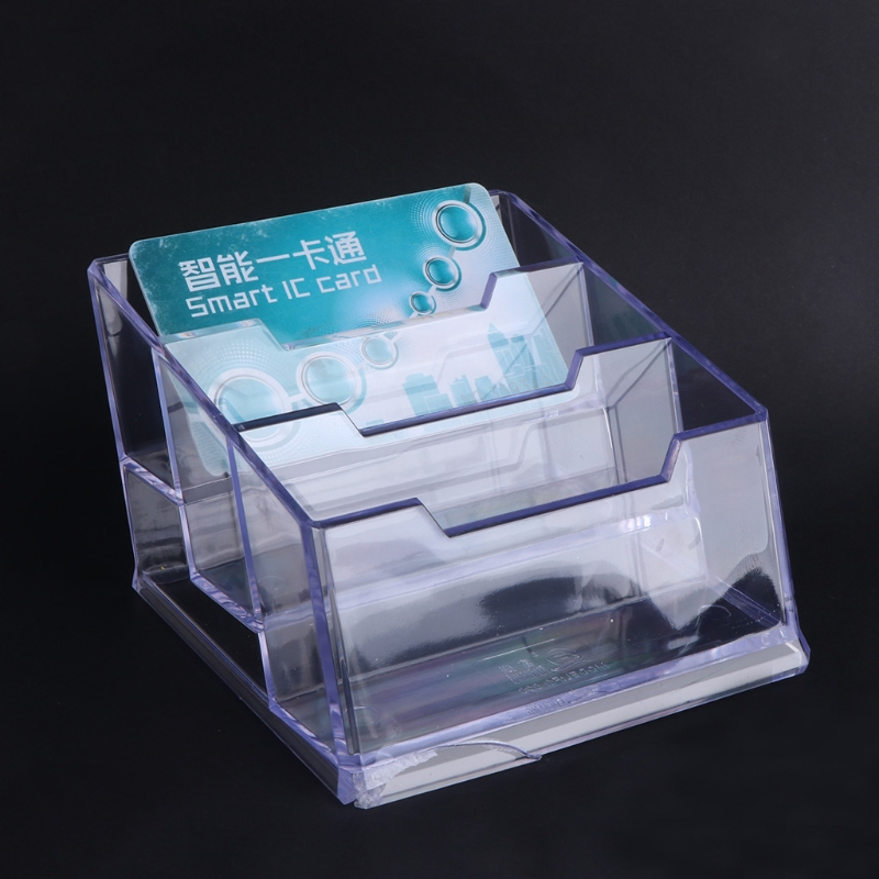 Smart Kicute Hot Desktop Business Card Holder 8 Pockets Stand Clear Transparent Acrylic Counter Display Stand Office Home Supplies Card Holder & Note Holder Desk Accessories & Organizer