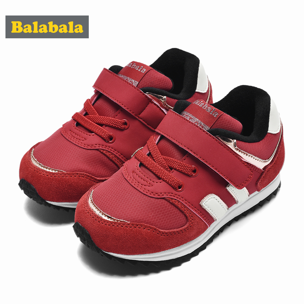 Balabala Children Autumn Winter Fashion Shoes Girls Casual Breathable Shoes Baby Child Plus Velvet Comfortable Non-slip Girls
