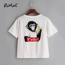 ROMWE Monkey Print Back T-shirt White Funny Brief Tee Women O Neck Cute Summer Tops Fashion Short Sleeve Casual New T-shirt(China)