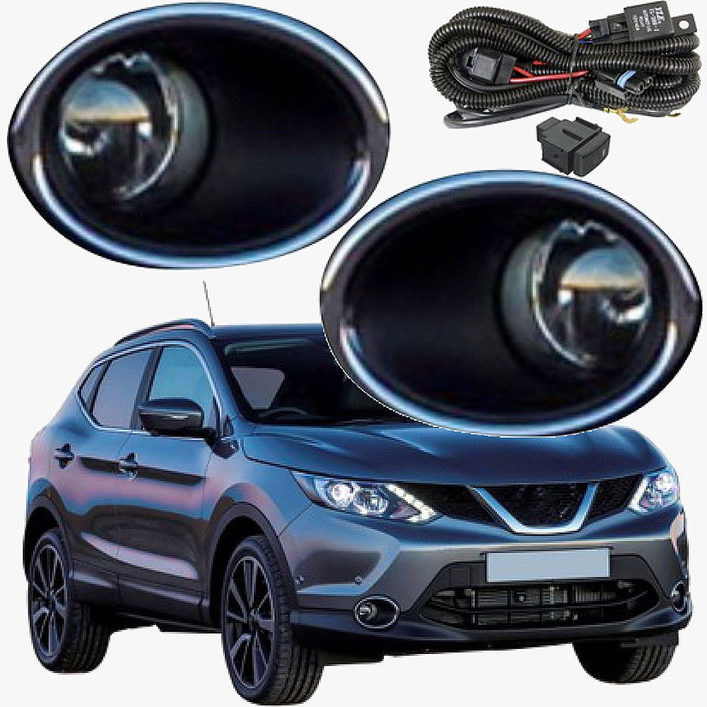 JanDeNing Car Fog Lights For Nissan Qashqai 2014 2015 2016 Clear Front Bumper Fog Lamp Replace Assembly kit(one Pair) car fog lights lamp for mitsubishi triton 2 door 2009 on clear lens pair set wiring kit fog light set free shipping