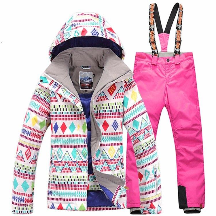Prix pour Gsou SNOW Snowboard combinaison de ski imperméable Femmes de ski veste de ski + pantalon ensembles sports de Plein Air coupe-vent Respirant femmes chaud vêtements