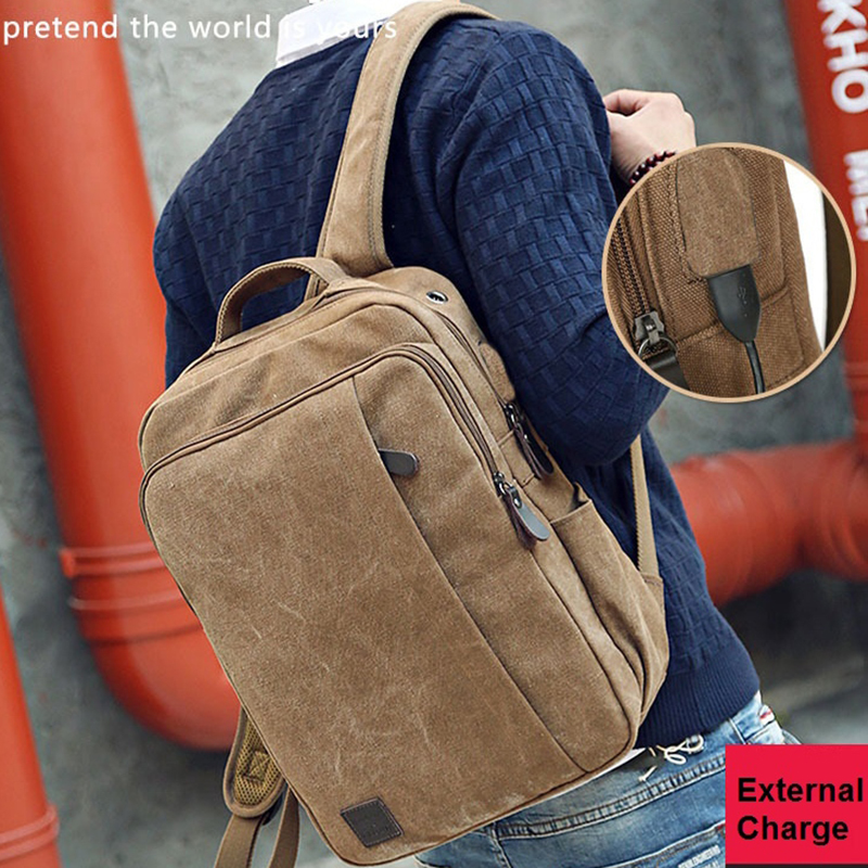 External USB Charge Computer Bag Canvas Notebook Backpack Men Laptop Backpacks College Students School Bags Male Dayback Bolsas image
