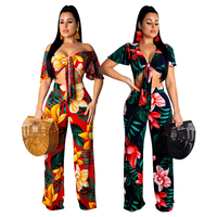 Europe and the United States hot sexy hot fashion digital printing two piece suit female