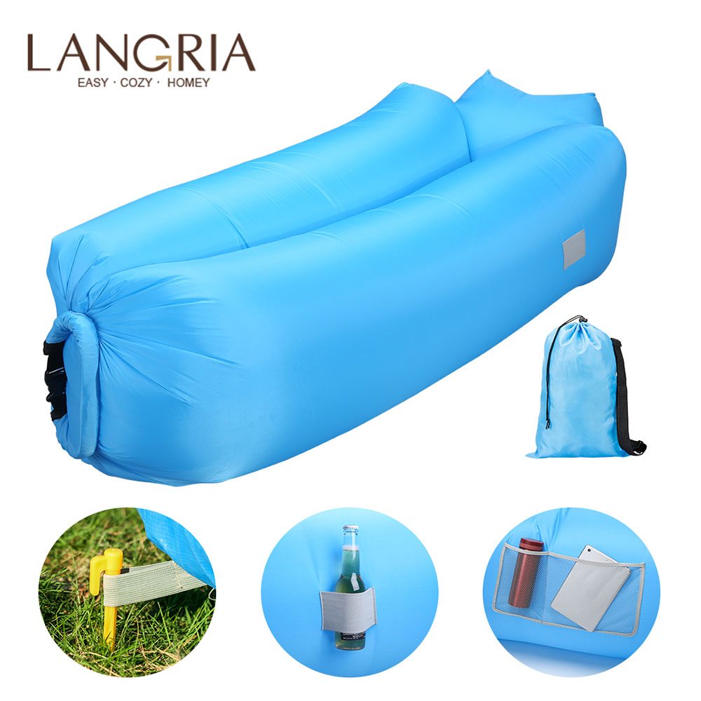 LANGRIA Inflatable Air Lounger Chair Lazy Sofa Indoor/Outdoor Self Inflating Waterproof Blow Up Couch Tear Resistant For Camping