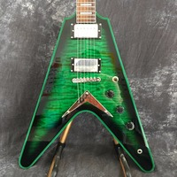human Selling Emerald Green Quilted Flying V Electric Guitar China OEM Custom Body & Kits Available