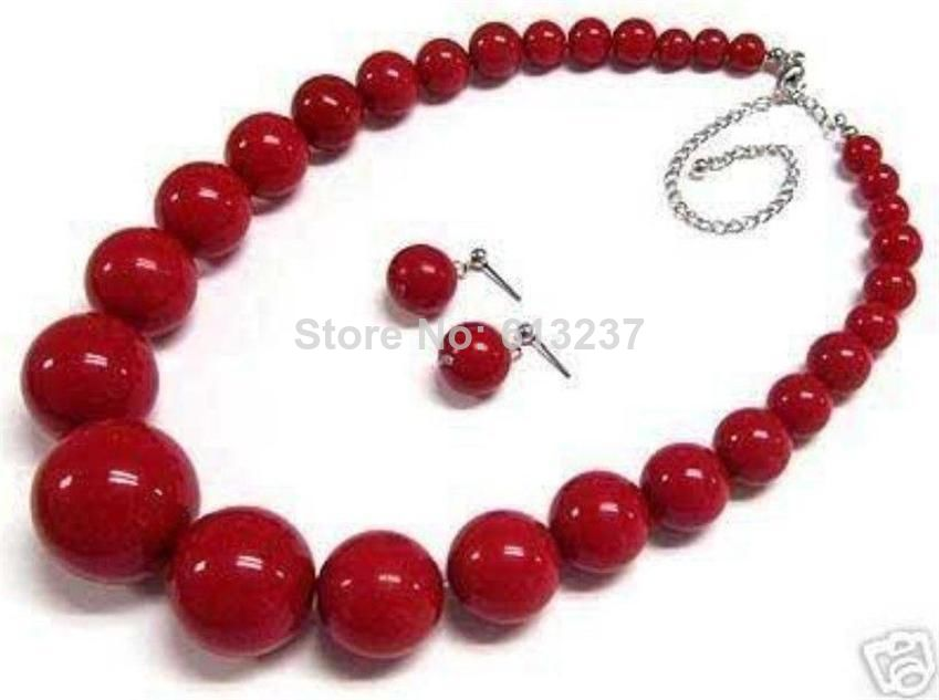 Fashion 6-14mm red artificial coral round beads necklace earring hot sale wedding romantic elegant jewelry set 18inch BV01