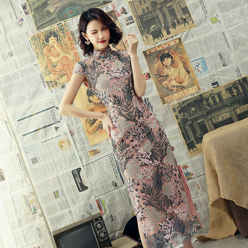 2019 summer new lace cheongsam women's long section improved cheongsam girl cheongsam party dress free shipping