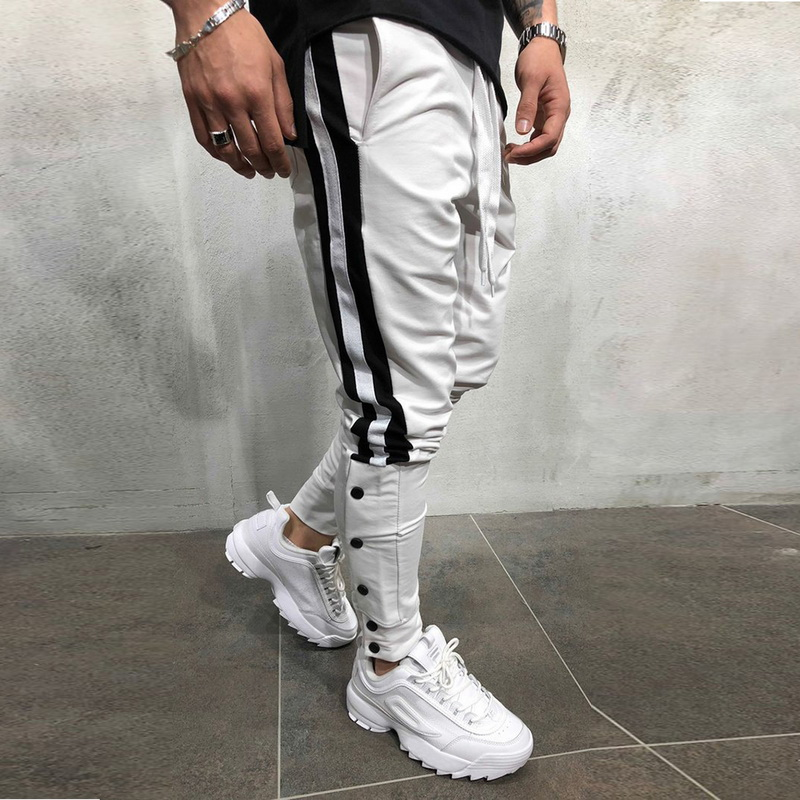 Casual Trousers Sweatpants Hip-Track-Pants Street-Wear Elastic-Waist Side-Stripe Male