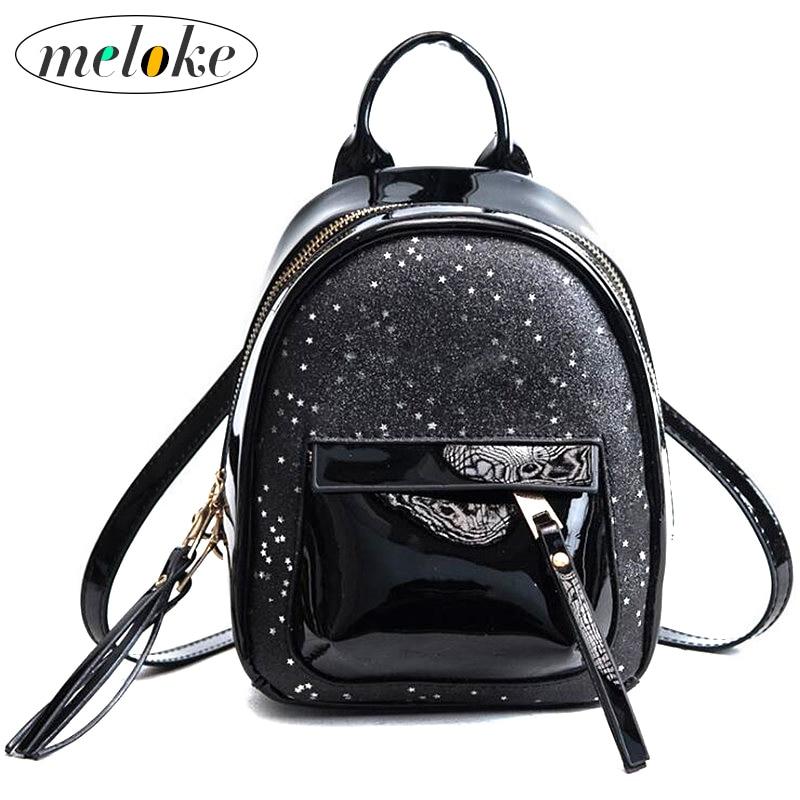 Meloke 2018 Girls School Bag Women Mini Glitter Backpack Female Small Leather Bag Stylish Back Pack Backpacks for Teenagers M03