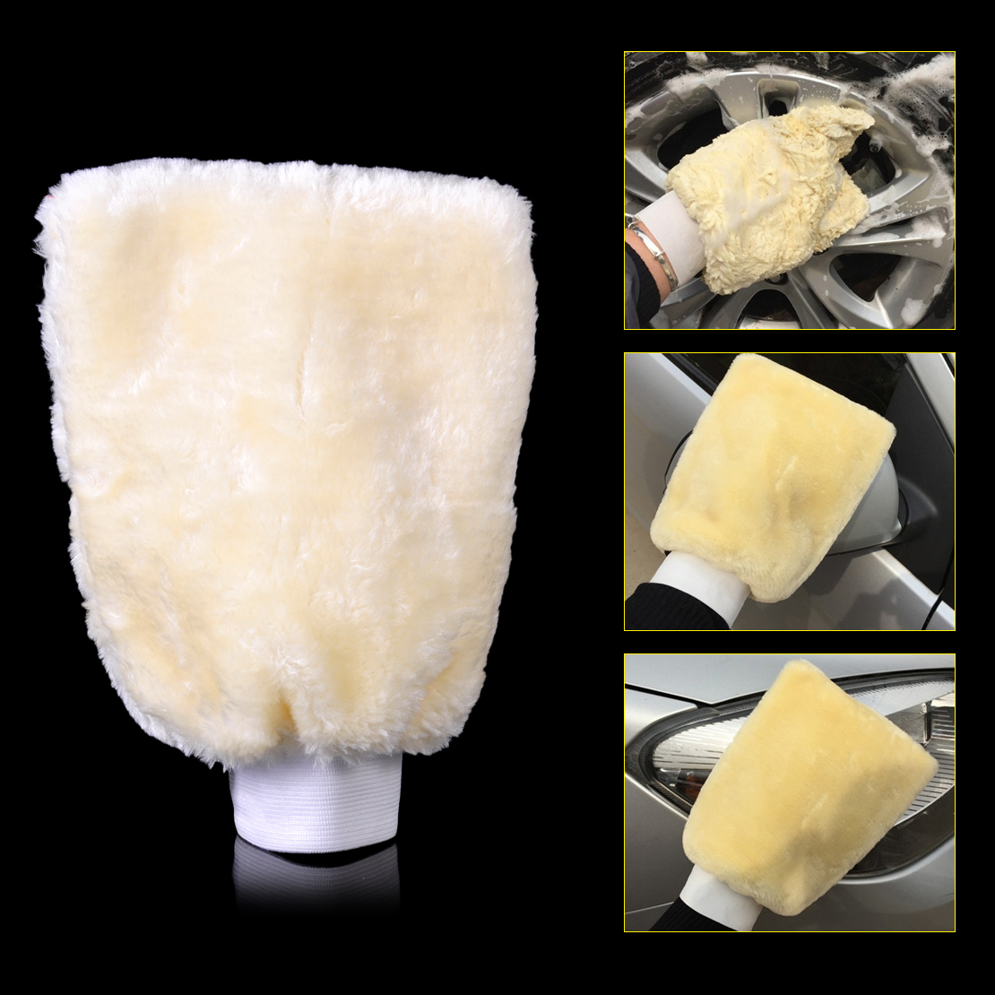 CITALL Auto Car Washer Soft Sheepskin Lambswool Cleaning Wash Glove Duster Mitt Polishing Wax for Ford VW Audi Nissan BMW Toyota