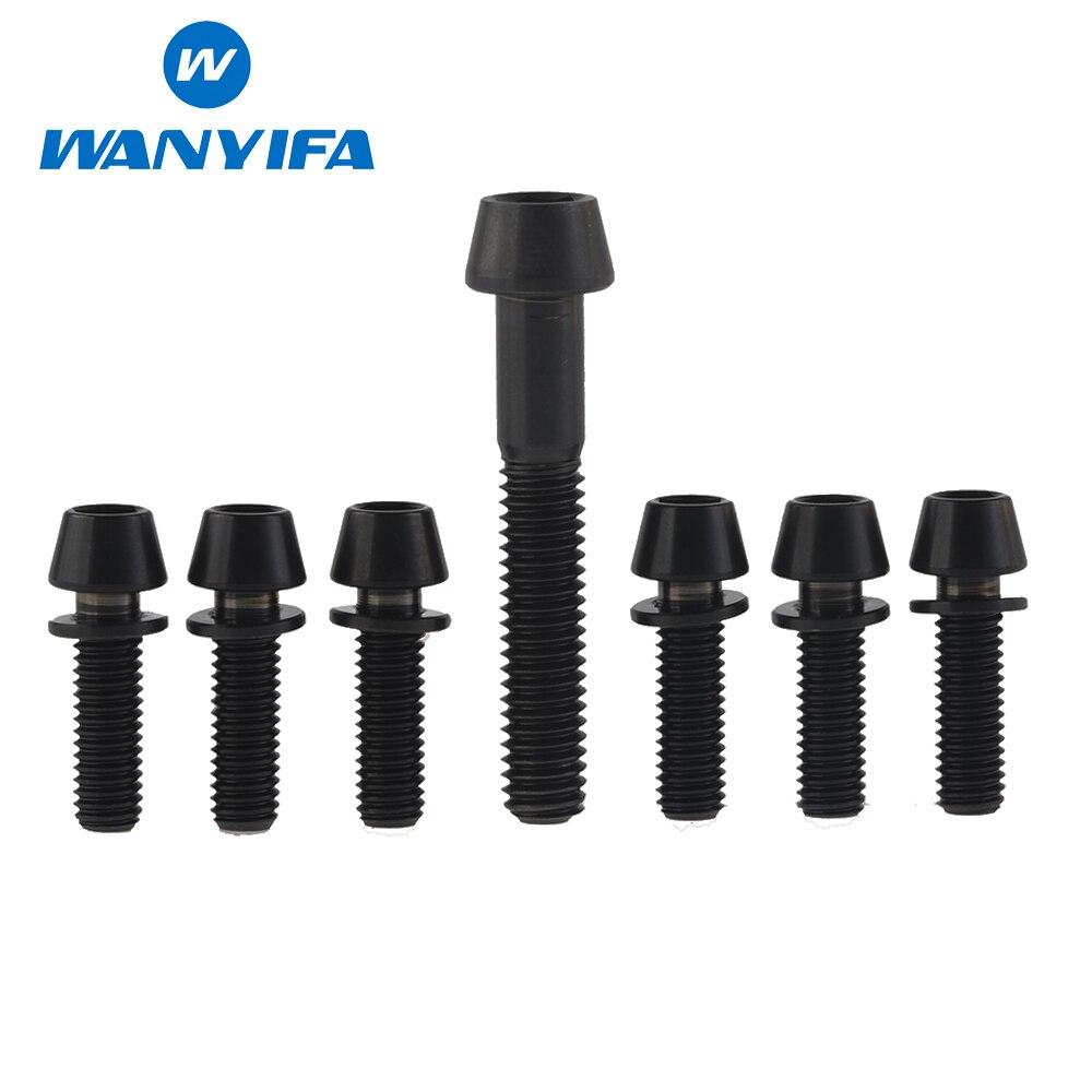 Wanyifa 6 stücke Titan Ti Upgrade Kit Schrauben Schrauben M5 x 16mm konische Kopf Mit Waschmaschine Für Stängel Und 1 stücke M6x35 Für Headset Caps