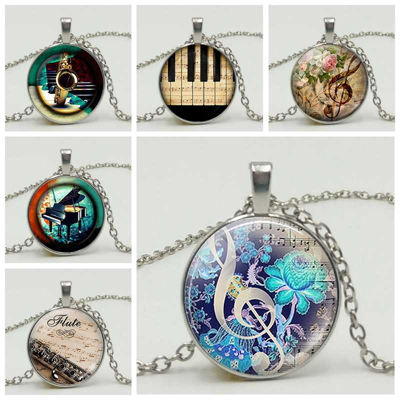 3 Color Fashion Piano Notes Guitar Music DIY Time Glass Gem Pendant Necklace Handmade Jewelry Necklace Accessories