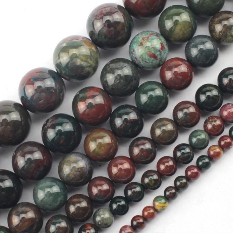 runda blodstenar / heliotrope pärlor natursten pärlor DIY lösa pärlor för smycken göra tråd 15 inches grossist!