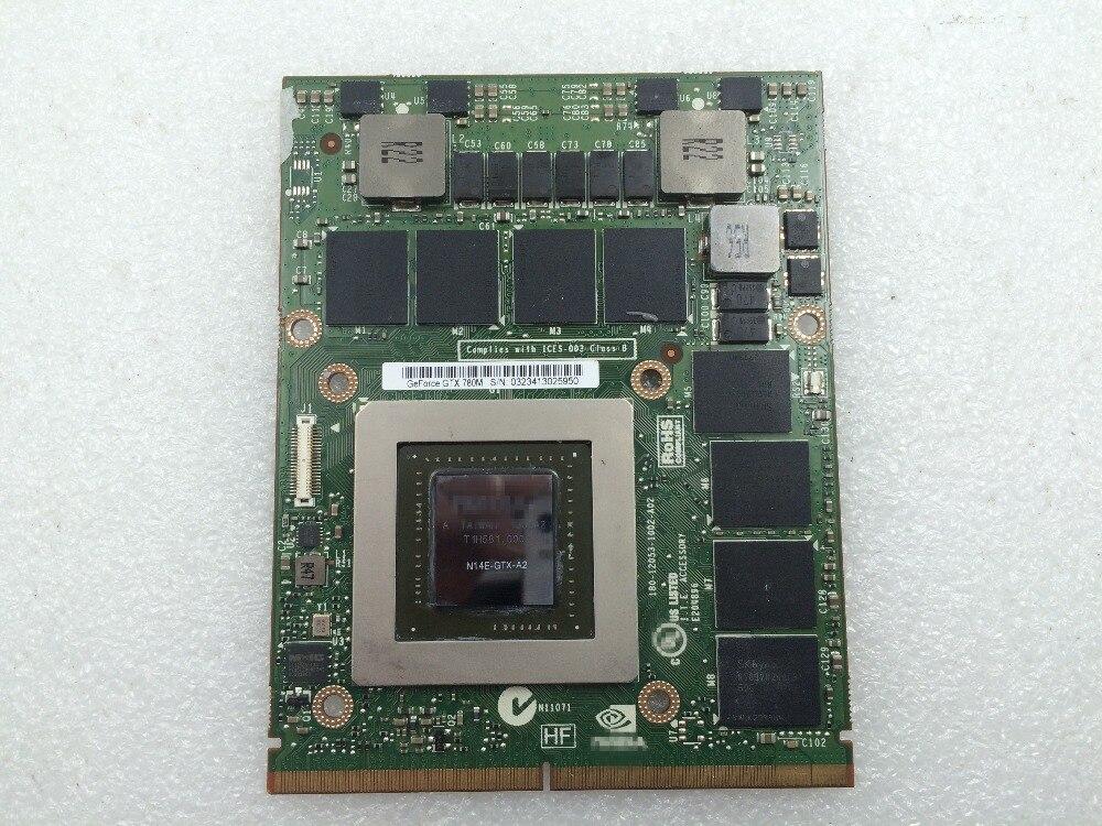 D'origine GTX 780 m GTX780M 4g N14E-GTX-A2 Carte Vidéo Pour Dell M17X R5 M18X R2 R3 R4 DDR5 Affichage carte graphique GPU Remplacement