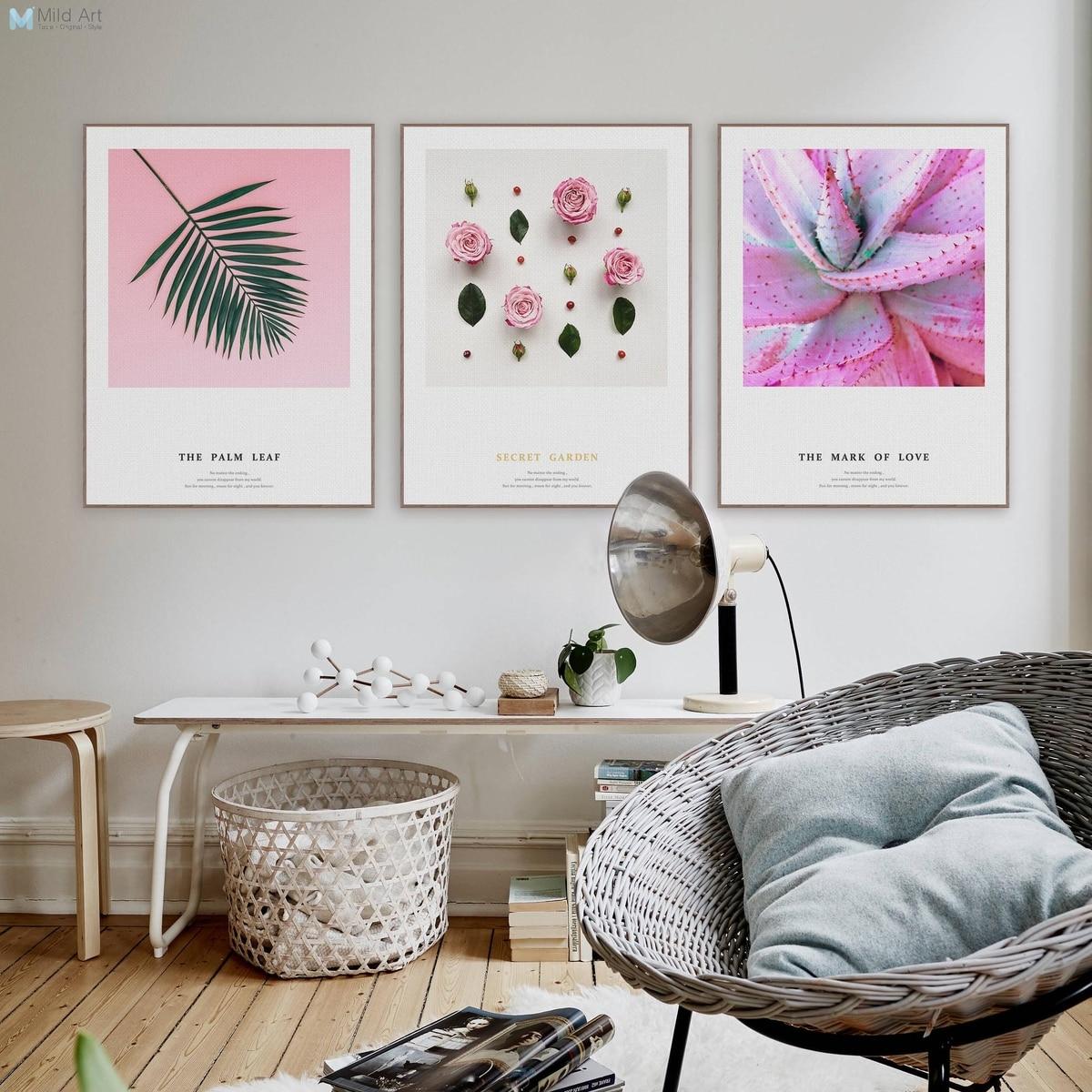 Flower Rose Cactus Leaf Girl Modern Pictures For Living Room Posters ...
