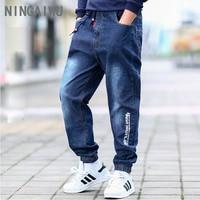 Chłopcy dżinsy wiosna nowy teenage luźne jeansowe spodnie dzieci chłopców ubrania dla 7 8 9 10 12 13 14 15 lat sznurek spodnie w stylu