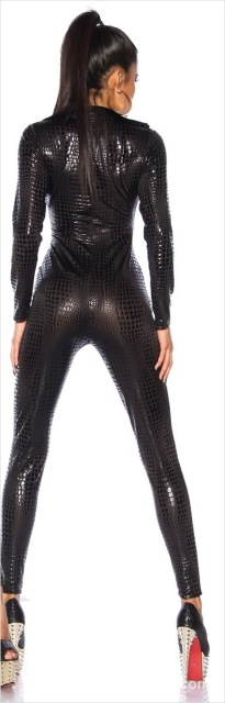 Latex Pvc Dress Jumpsuit Zentai Costume Women Black