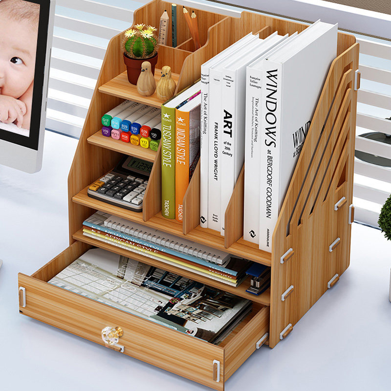 DIY Desktop Book Shelf Desktop Storage Box Documents Books Storage Multi-layer Finishing Rack Office Supplies ...