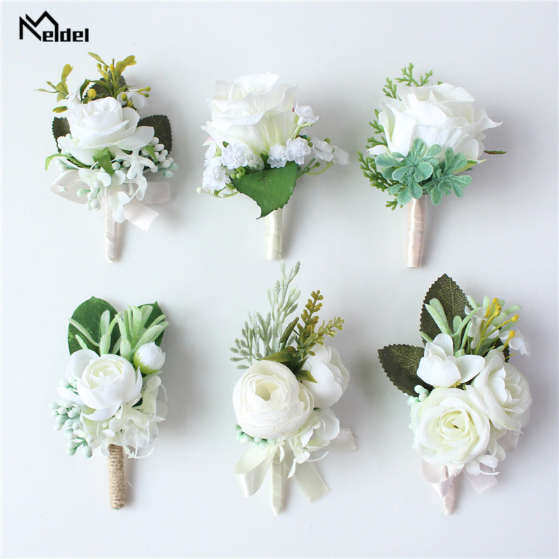 Meldel Corsage Men Wedding Rustic Boutonniere White Bridal Wrist Corsage Bridesmaid Groomsmen Party Meeting Personal Decorations
