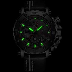 Image 4 - ליגע Creative גברים שעונים למעלה מותג יוקרה הכרונוגרף קוורץ שעונים גברים שעון זכר עור ספורט צבא צבאי יד שעונים + תיבה
