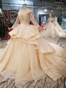 Image 3 - HTL046 International new design wedding dresses with peplum o neck long sleeves ball gown sukienka na wesele dla gościa