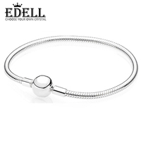 EDELL Genuine 100 925 Sterling Silver Classic Buckle Ladies Bracelet Fit DIY Charms Beads Original Gift