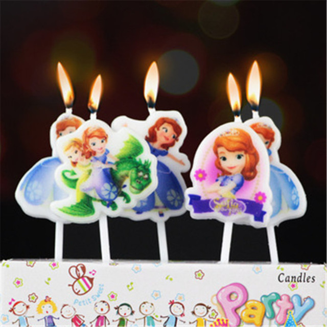 5pcs Princess Sofia Birthday Cake Candles The 1st 2nd Party Decoration Ideas Baby Girls Tableware Funny Candle Toppers
