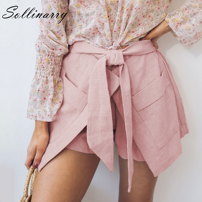 Sollinarry Pink High Waist Pocket Women Summer   Shorts   Casual Beach Wide Leg Female   Shorts   High Fashion Solid Bow Sexy   Short   Boho